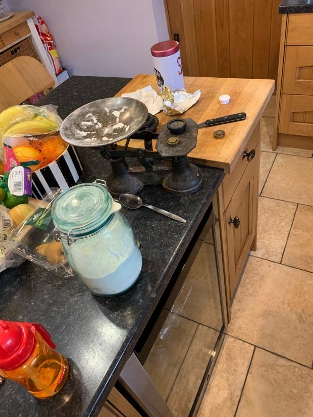 A messy kitchen side